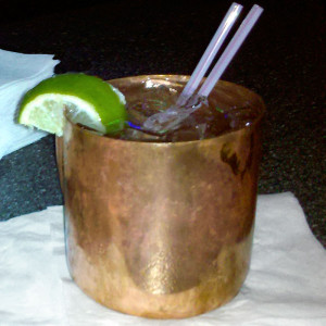 Moscow Mule in traditional copper mug